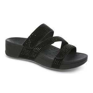 Vionic Suede Black Alexis Platform Sandals with Rhinestones Size 10